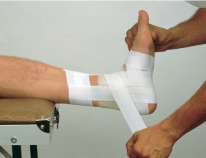 A Shaven Ankle Being Taped