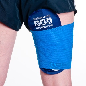 A cold pack wrapped onto a hamstring injury
