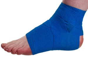 Example of compression and support bandaging for a sprained ankle.