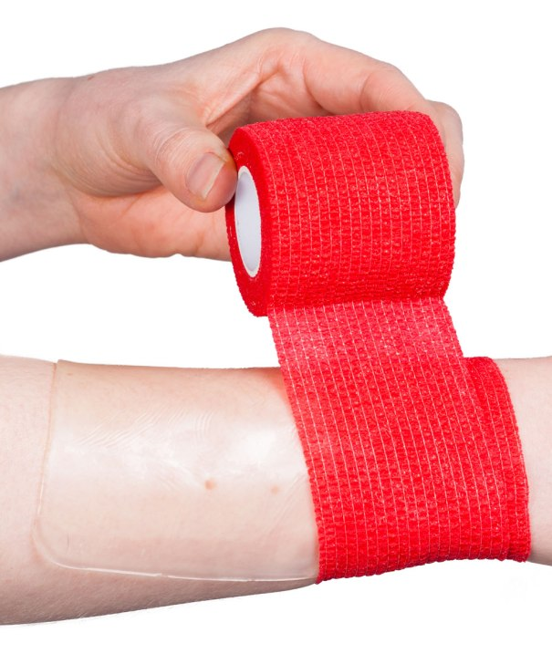 Either type of hydrogel dressing can be secured by lightly wrapping on with a conforming bandage or cohesive bandage.