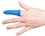 A picture of a blue Fingerbob bandage applied to a finger