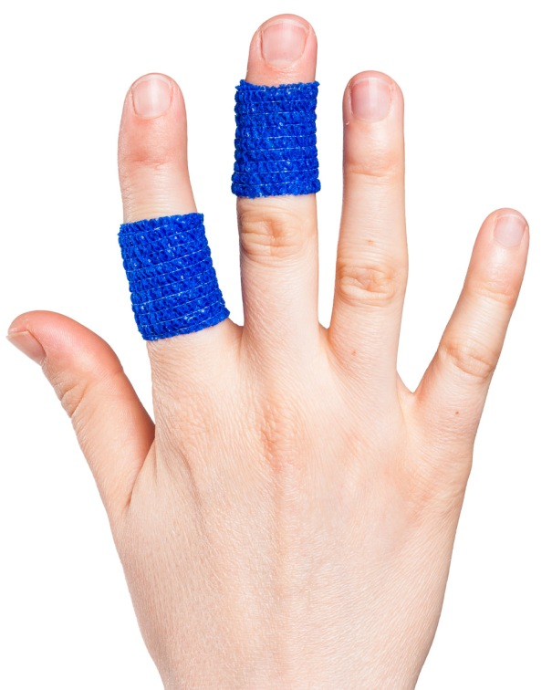 Fingers Wrapped with Cohesive Bandage